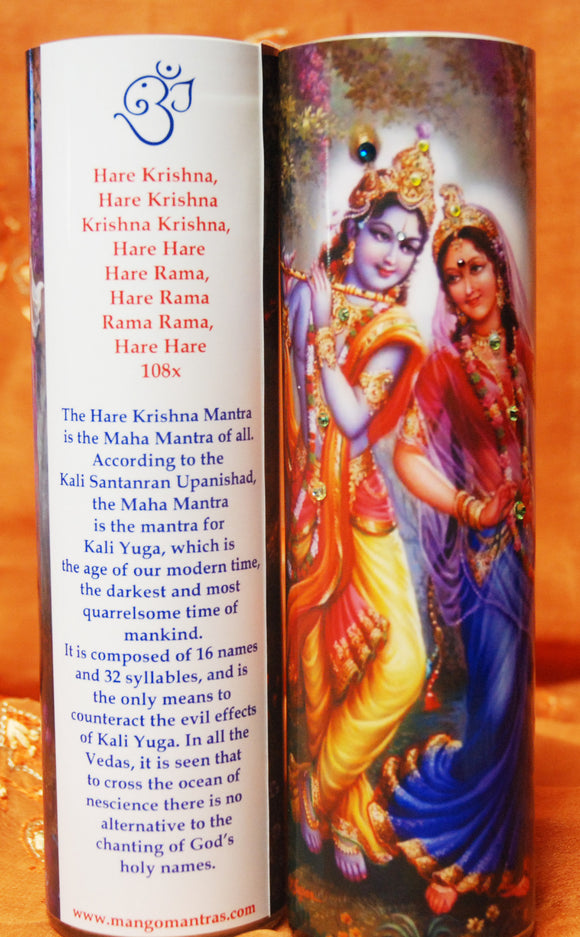 Krishna & Radha Maha Mantra Meditation Candle embellished with Swarovski Crystals