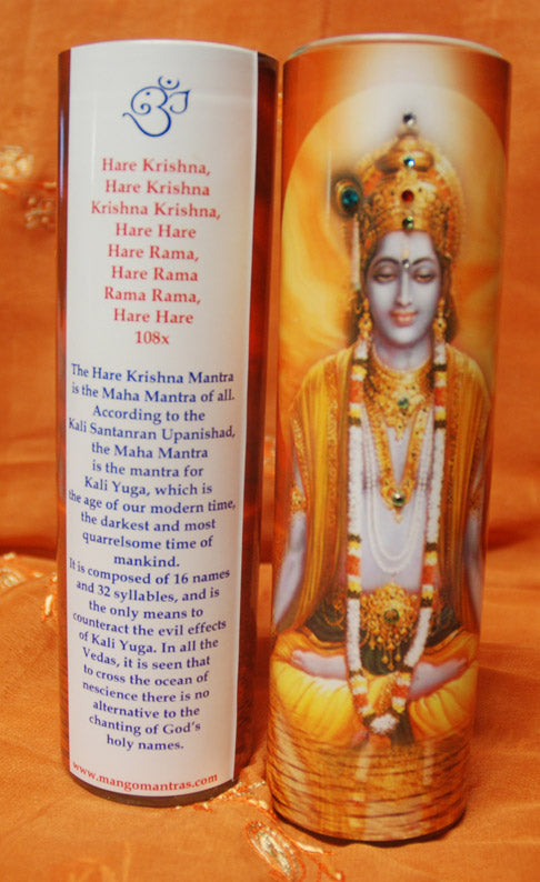 Hare Krishna Mantra Meditation Candle embellished with Swarovski Crystals #2
