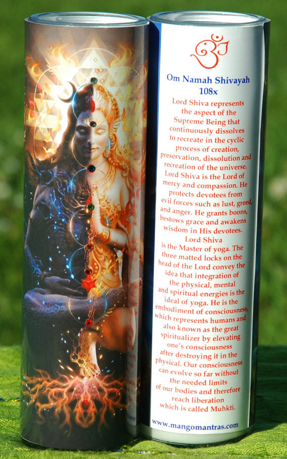 Powerful Shiva Shakti Ardaneshwara Mantra Meditation Candle with Swarovski Crystals