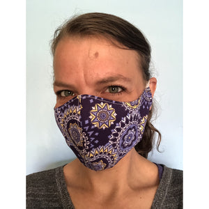 Purple Mandala Face Mask on a face, left view