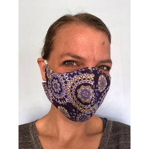 Purple Mandala Face Mask, on a face, right side