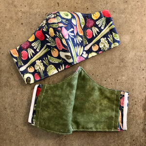 fresh vegetables face mask outside and inside view, showing the inside olive green fabric
