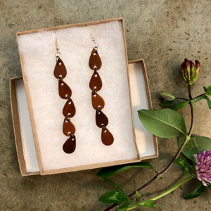 5 Teardrop Dangle Leather Earrings in Brown
