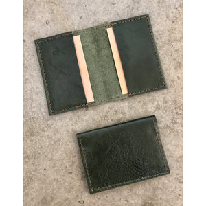Leather Slimfold Wallet in forest green