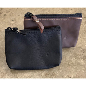 Leather Zipper Pouch in black and brown, with top zipper