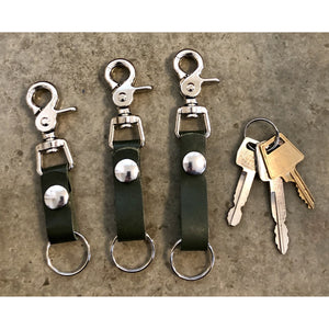 Leather Key Chain in Forest Green: short, medium, and long