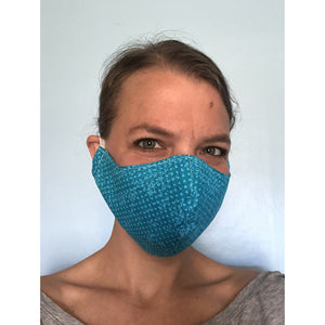 Turquoise Polka Dots with Mermaid Shimmer Inside- Reusable Cotton Face Mask with Filter Pocket