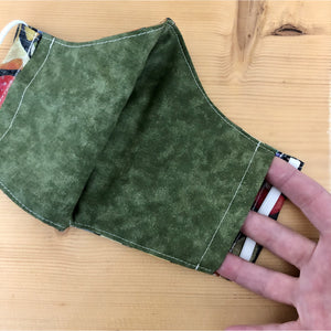 This picture shows one side of the opening of the filter pocket. The filter pocket has openings on both sides of the mask and covers the whole length and width of the mask.