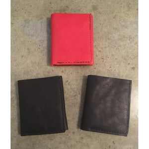 Leather Trifold Wallets in red and black