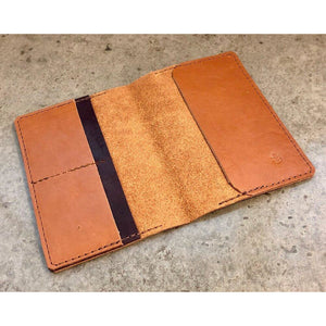 Leather Passport Wallet, in brown with dark brown pocket accent