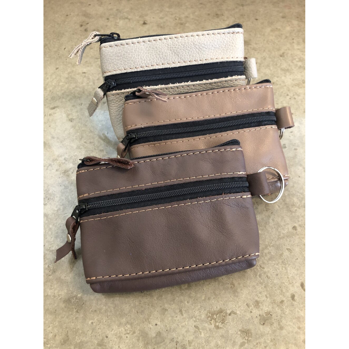 2 Zipper Leather Pouch in brown, light brown, and beige