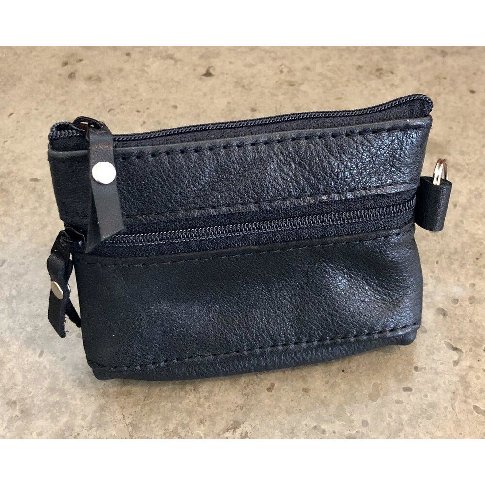 2 Zipper Leather Pouch in black