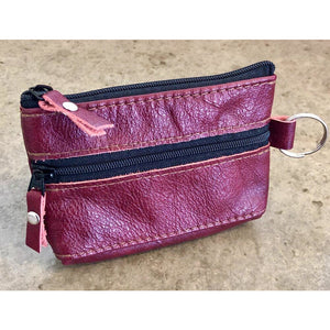 Red 2 zipper Leather Pouch