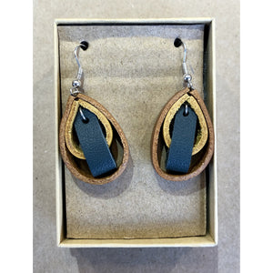 Leather Loop Earrings in teal, yellow, and brown