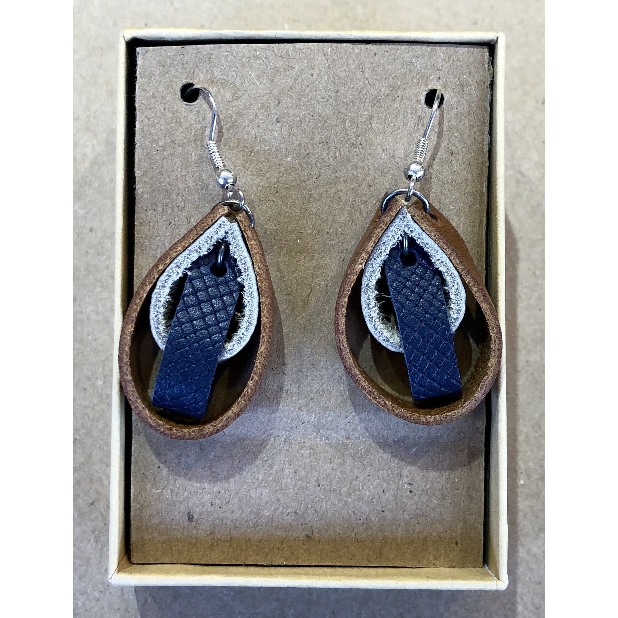 Navy Blue and Brown Leather Loop Earrings