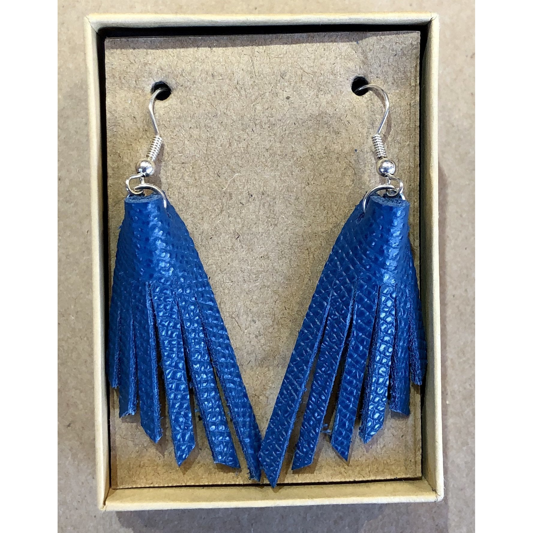Turquoise Leather Fringe Earrings