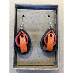Leather Loop Earrings, Orange, Red, and Black