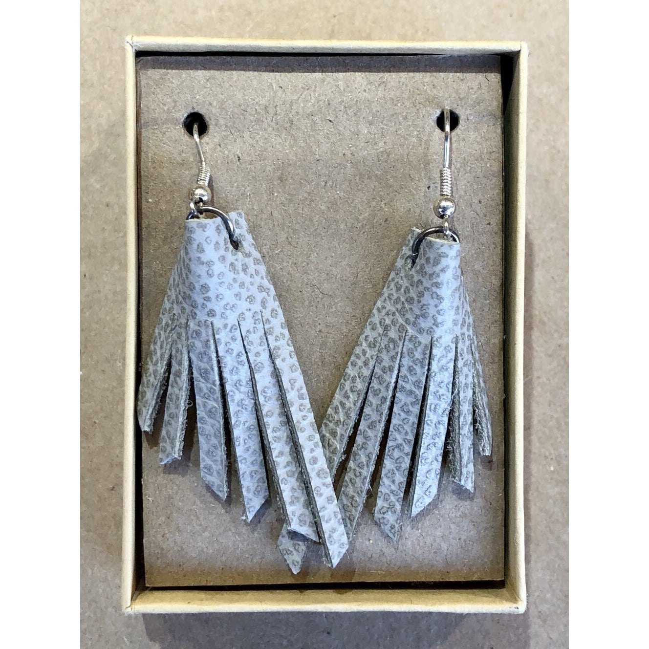 Leather Fringe Earrings in Spotted Off White