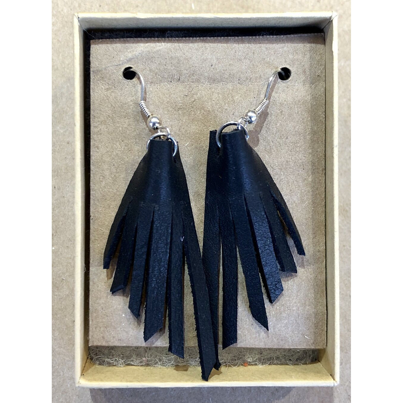 Matte Black Leather Fringe Earrings