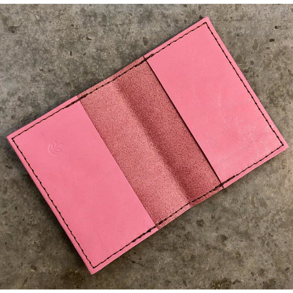 Leather Slimfold Wallet in bubblegum pink