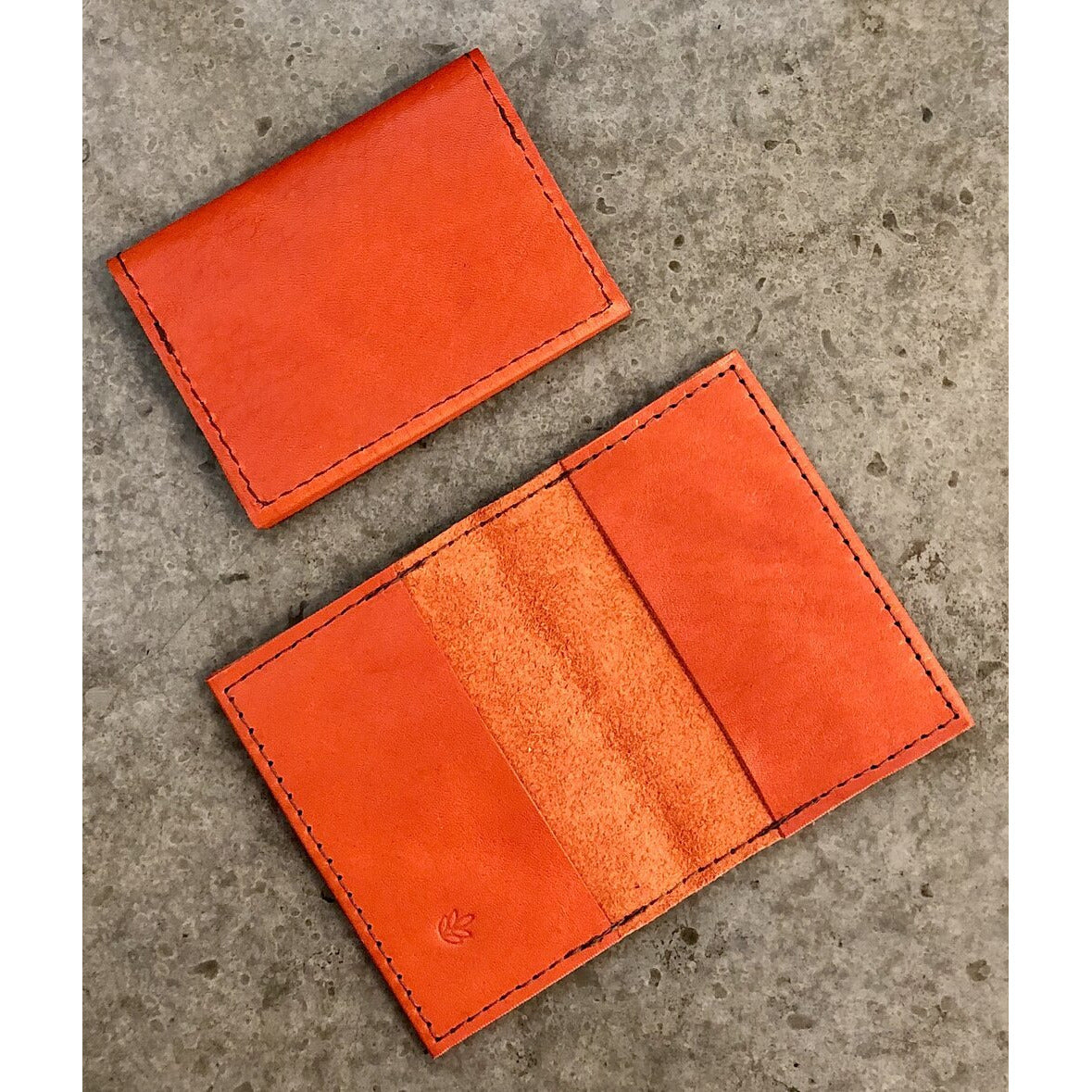 Leather Slimfold Wallet in bright orange