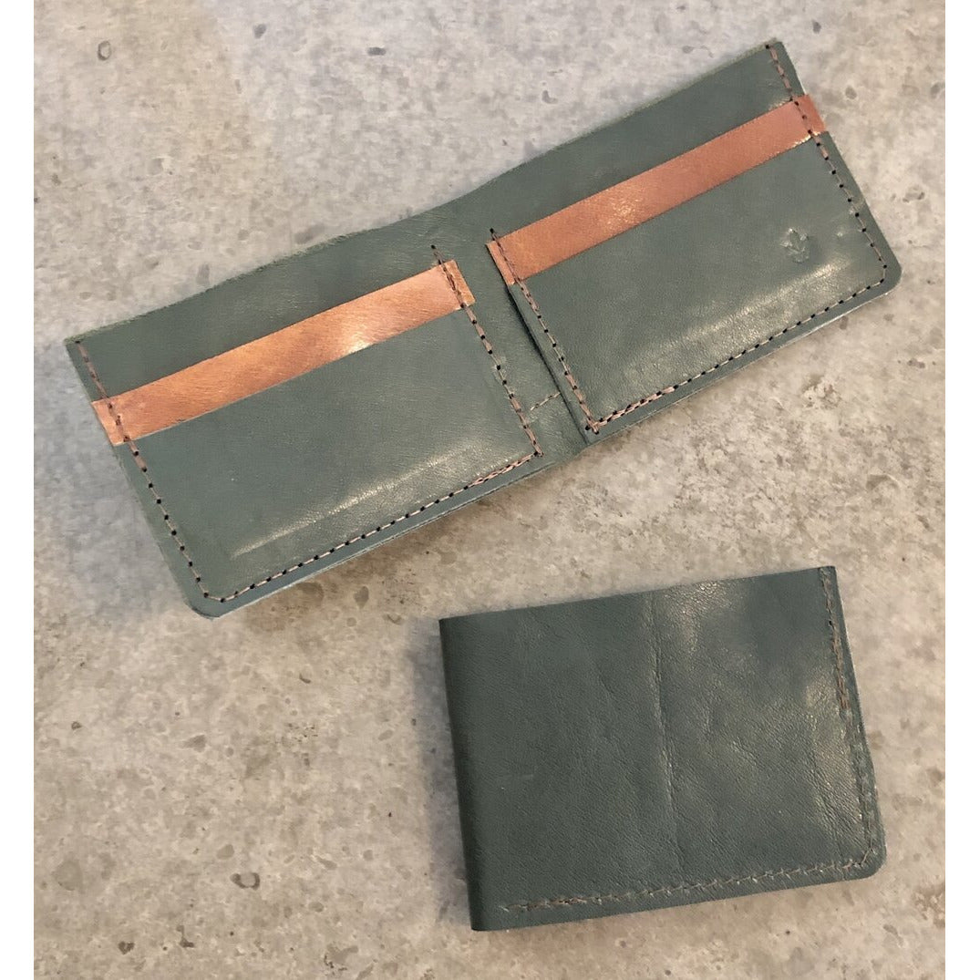 Classic Leather Billfold in Forest Green and Brown