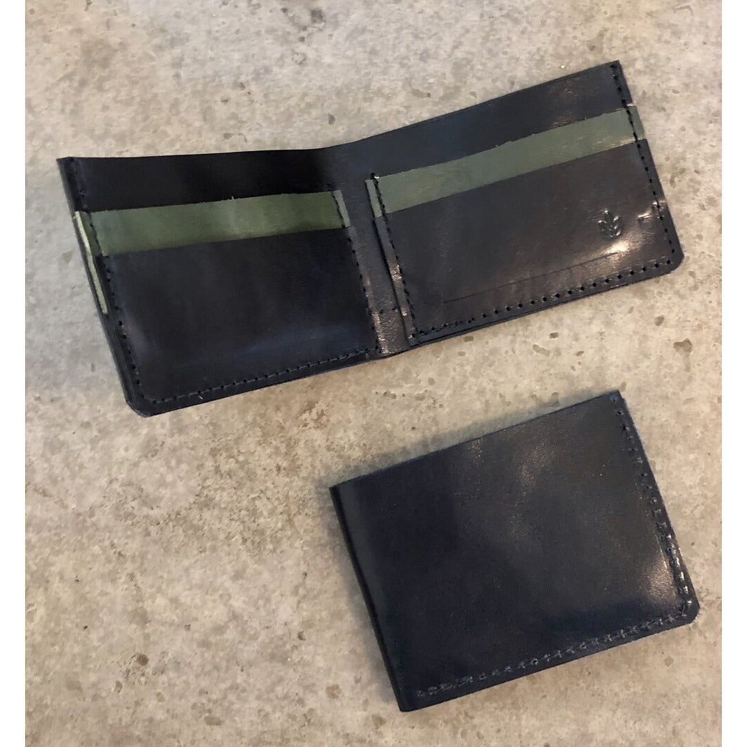 Classic Leather Billfold in black and forest green