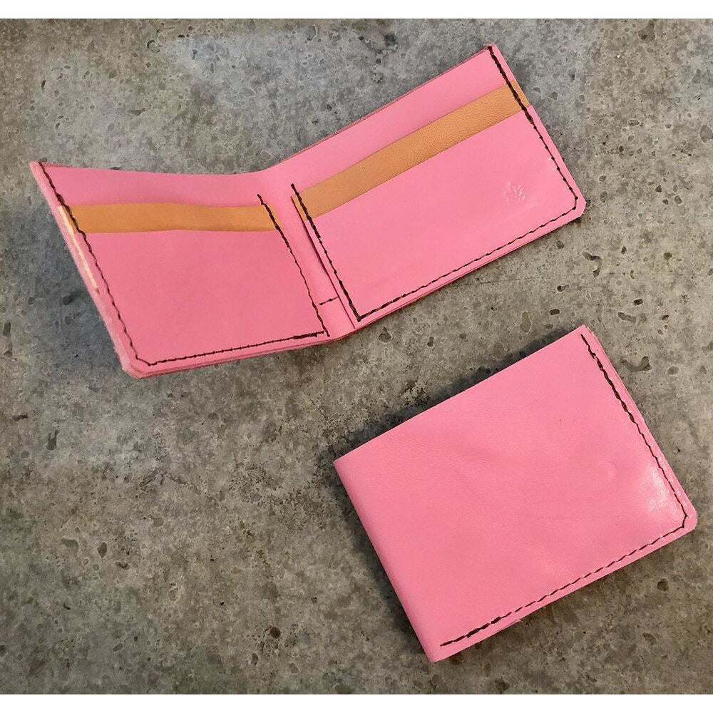 Classic Leather Billfold in bubblegum pink and light brown