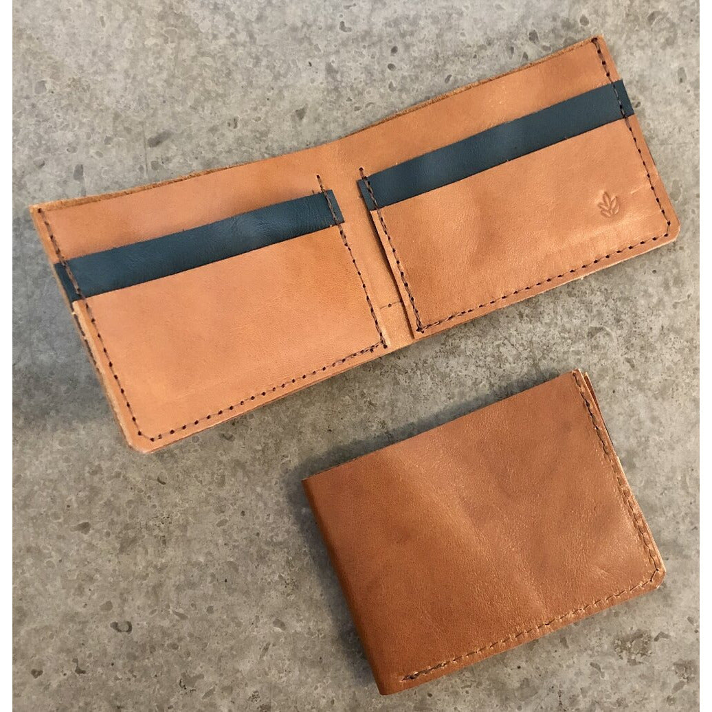 Classic Leather Billfold in Brown and Green