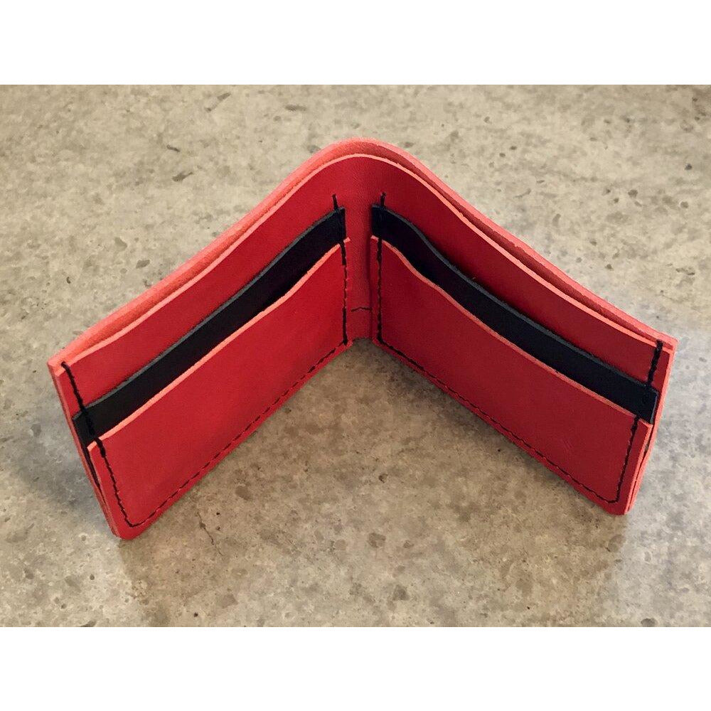 Classic Leather Billfold in red and black