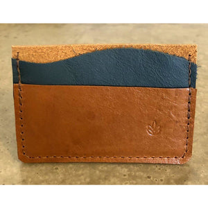 Minimalist 3 Pocket Leather Wallet in brown and teal