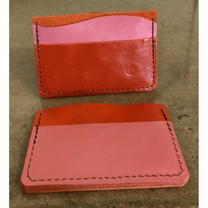 Minimalist 3 Pocket Leather Wallet in bright orange and bubblegum pink, front and back view