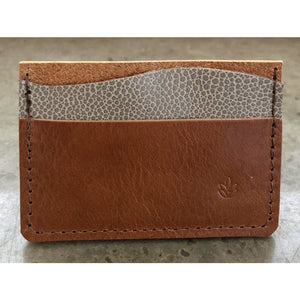Minimalist 3 Pocket Leather Wallet in brown and spotted off white
