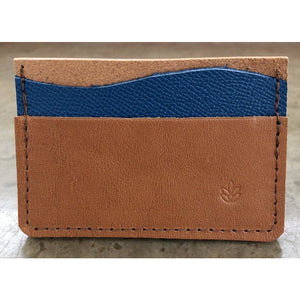 Minimalist 3 Pocket Leather Wallet in brown and turquoise