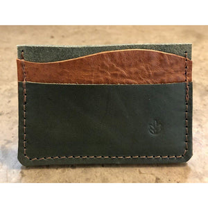 Minimalist 3 Pocket Leather Wallet in forest green and brown