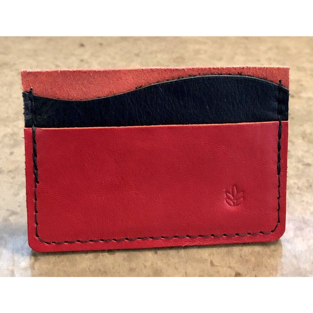 Minimalist 3 Pocket Leather Wallet in red and black