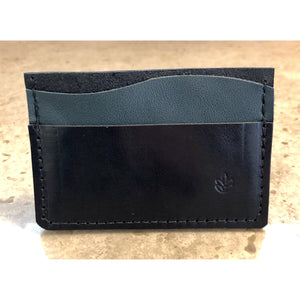 Minimalist 3 Pocket Leather Wallet in black and teal