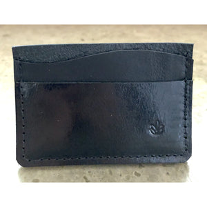 Minimalist 3 Pocket Leather Wallet in all black