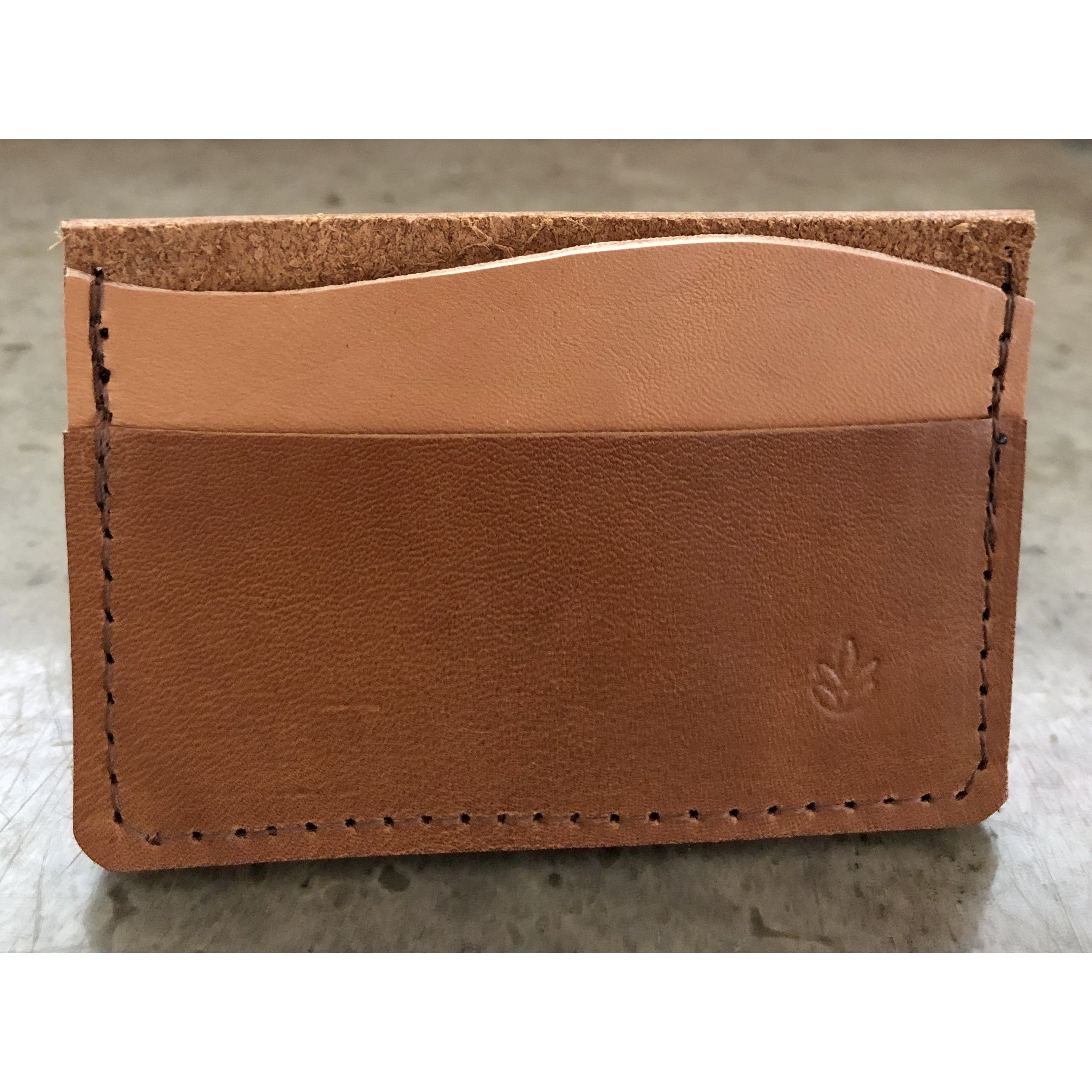 Minimalist 3 Pocket Leather Wallet in brown and light tan