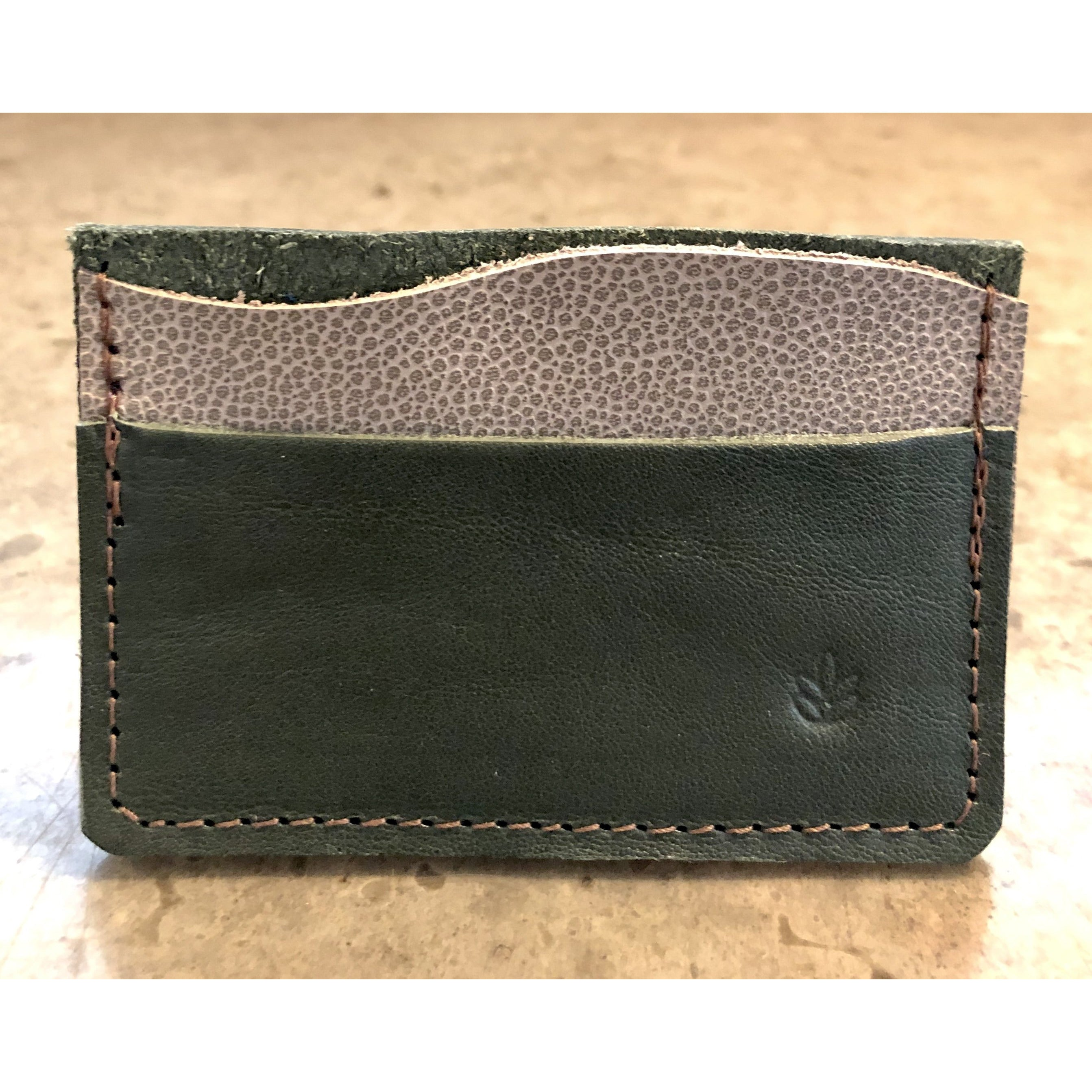 Minimalist 3 Pocket Leather Wallet in forest green and spotted off white