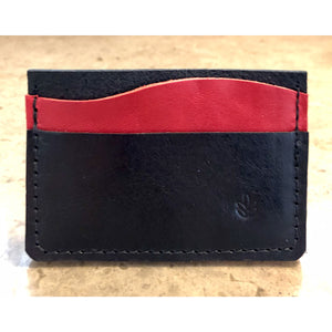 Minimalist 3 Pocket Leather Wallet in black and red