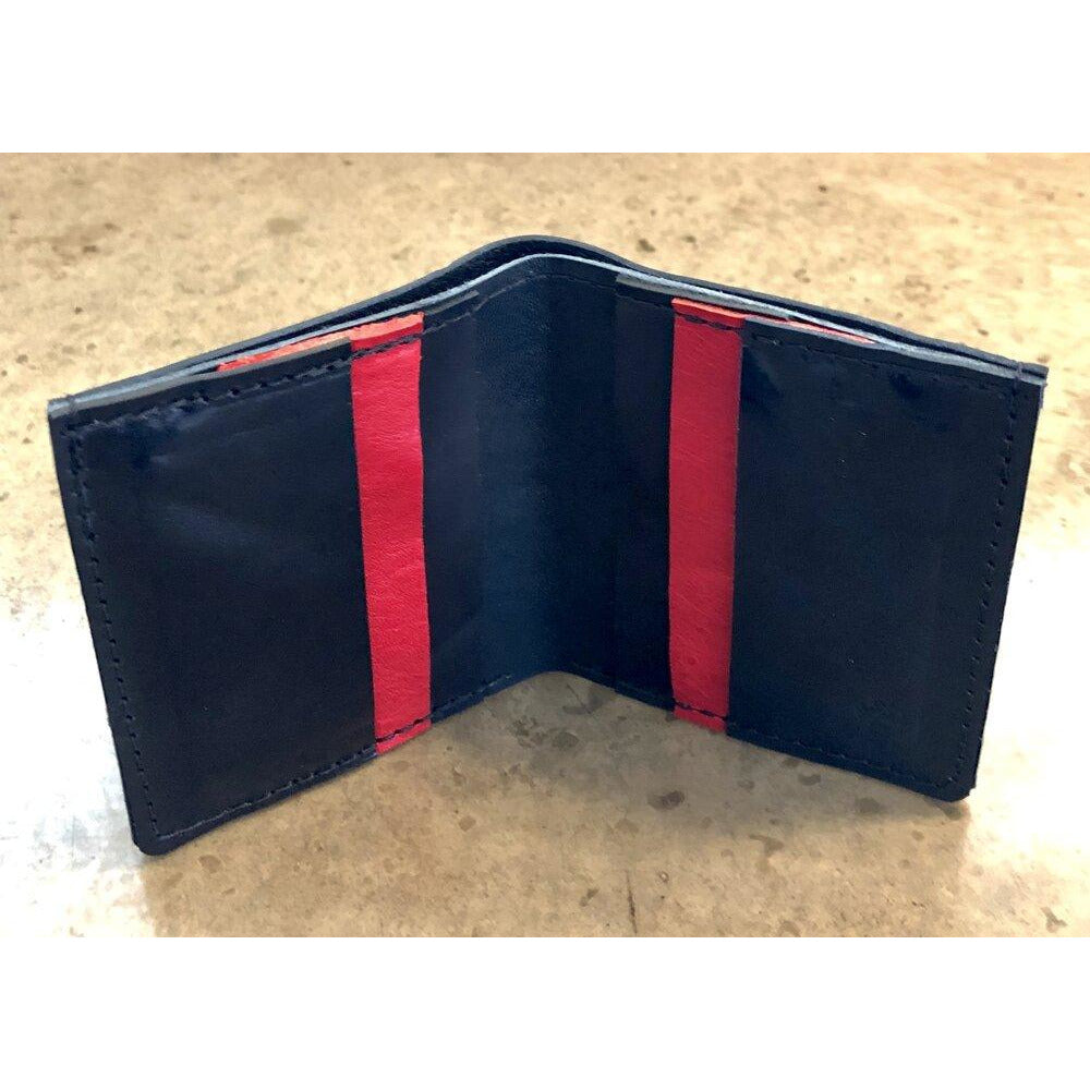 6 Pocket Leather Billfold in Black and Red