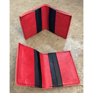 6 Pocket Leather Billfold in Red and Black