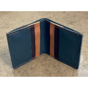 6 Pocket Leather Billfold in teal green and brown