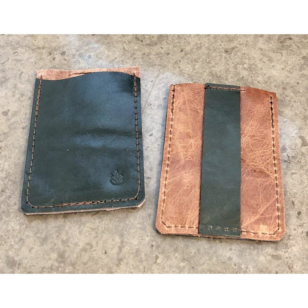Leather Minimalist Business Card Holder in Forest Green and Tan