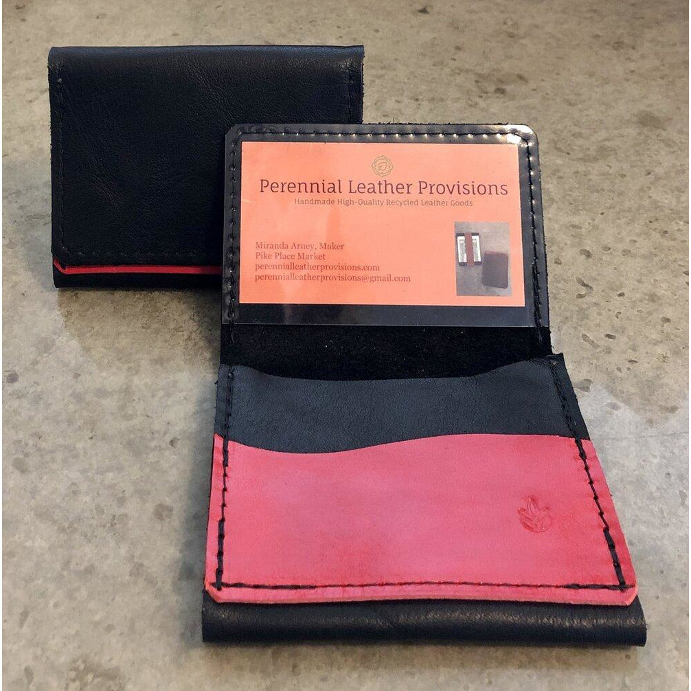 Leather Flip Pouch in black with red pocket