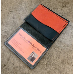 Leather Flip Pouch, shiny teal with bright orange pocket