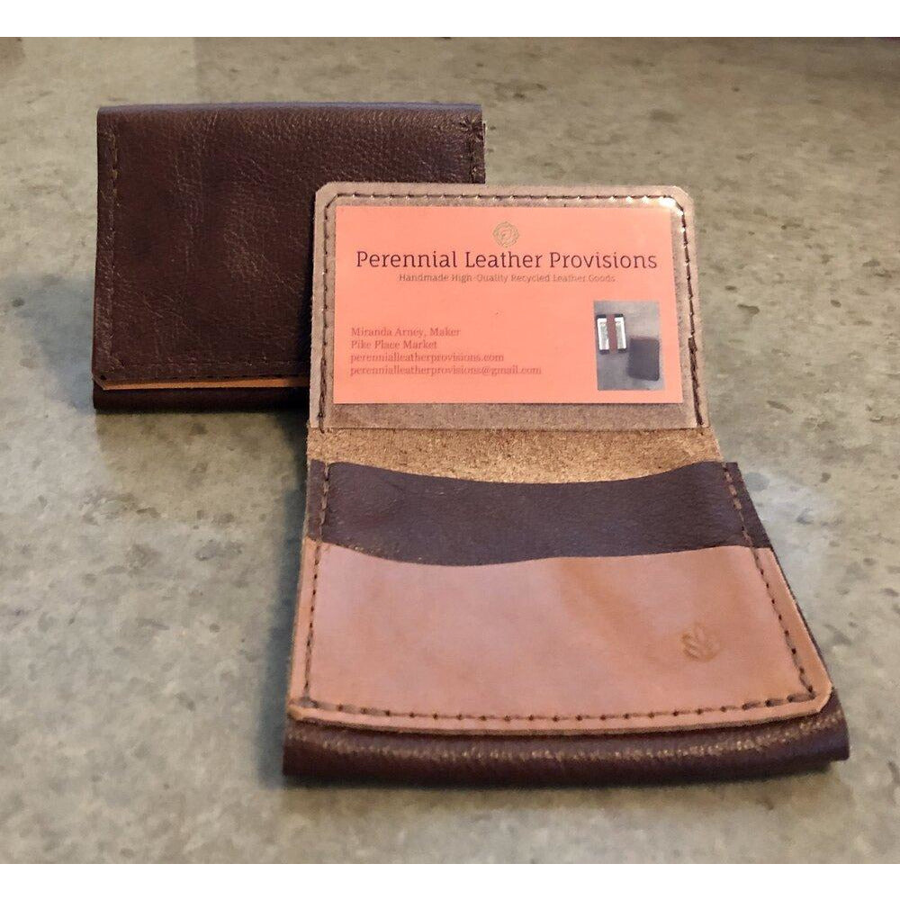 Leather Flip Pouch in dark brown with light brown pocket