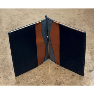 Leather Money Clip Wallet, black with brown pockets