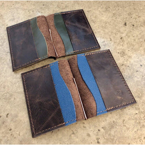 Dark Brown Leather Money Clip Wallet, pictured with forest green or turquoise pockets